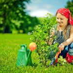 Young girl planting a tree