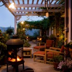 Backyard patio with trellis